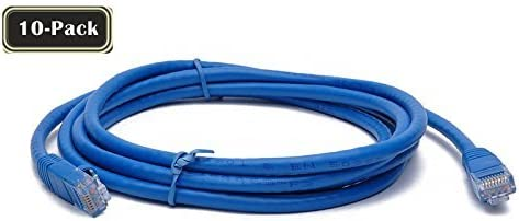 BattleBorn 10 Pack 6 Foot Copper CAT6a Ethernet Network Patch Cable 24AWG 550MHz BB-C6AMB-6BLU Blue