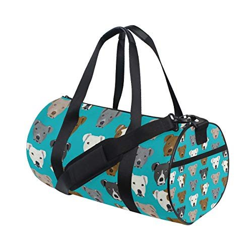 Gym Duffel Bag Pitbull Dog Turquoise Training Duffle Bag BaLin Round Travel Sport Bags for Men Women