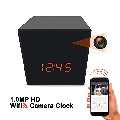 EXCEPRO WiFi Wireless IP Security Hidden Nanny Camera Clock, Enhanced Night Vision Cam, Remote Live Video, Free App for IOS/Android Phone/PAD, DC/Battery, No Audio