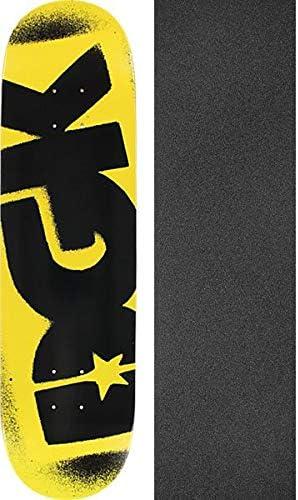 Bundle of 2 Items 8.06 x 31.875 with Mob Grip Perforated Black Griptape DGK Skateboards OG Logo Yellow//Black Skateboard Deck
