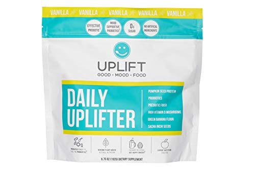 Uplift Food Daily Uplifter - Organic Prebiotic + Probiotic Mood and Gut Health Psychobiotic Vanilla Powder