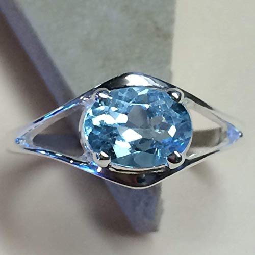 - Natural 2ct Swiss Blue Topaz 925 Solid Sterling Silver Solitaire Ring sz 7