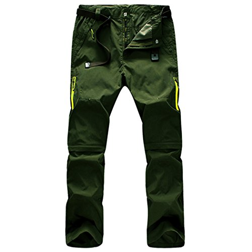 Modern Fantasy Mens Casual Quick-dry Hiking Convertible Pants Detachable Shorts Size US S Armygreen