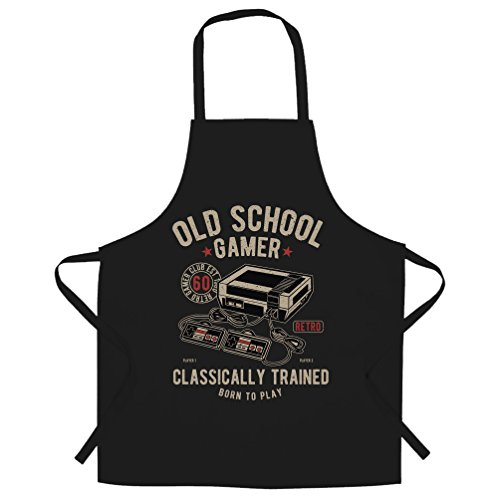 Gaming Chefs Apron Old School Gamer Retro Videogame Arcade Black One -