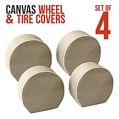 TCP Global Set of 4 Canvas Wheel Tire Covers for RV Auto Truck Car Camper Trailer to 28