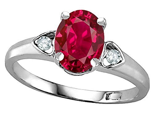 Star K Oval 8x6 Created Ruby Love Promise Ring 14 kt White Gold Size 6.5 ()