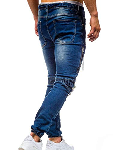 Slim Destroyed Hombre Mezclilla Skinny Vintage 02blau Fit para Jeans Stretch Motocicleta De Mezclilla Torn De Pantalones Pantalones w4SqxYgnx