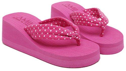 Dayiss®Süß Damenschuhe gepunktet Plateausandaletten Zehntrenner Sandalen Keilabsatz Freizeit Sandaletten Strandschuhe Rosa
