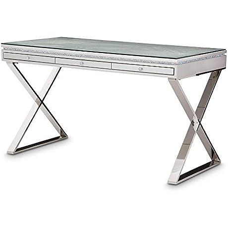 Aico Amini Melrose Plaza Writing Desk With Glass Top In Dove Grey