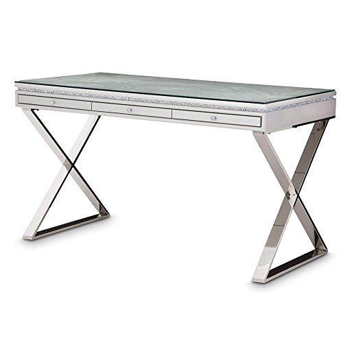 Aico Amini Melrose Plaza Writing Desk with Glass Top in Dove Grey For Sale