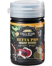 Ultra Fresh - Betta Pro Shrimp Patties, 50% Sword Prawns + Akiami Paste Shrimps, All Natural Protein, Rich in Calcium, for Betta's Healthy Development and Cleaner Water, Betta Food