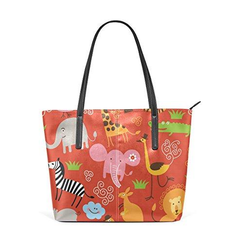 Handtasche Tasche Leder Pattern Schultertasche PU Animals und Handtaschen Frauen für COOSUN Cute qIY7z