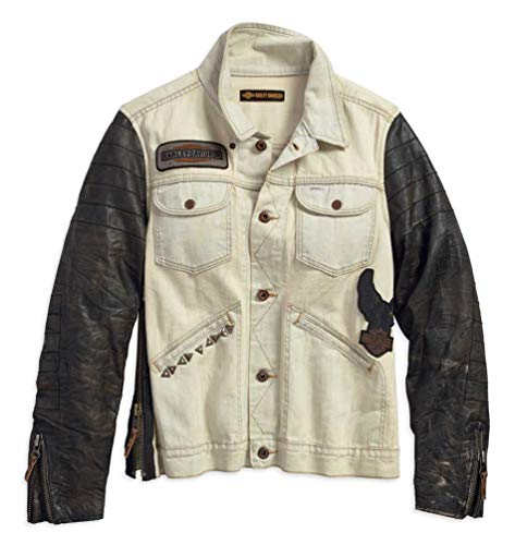 Harley-Davidson Women's Leather Sleeve Denim Casual Jacket, Tan 97464-18VW (L) ()