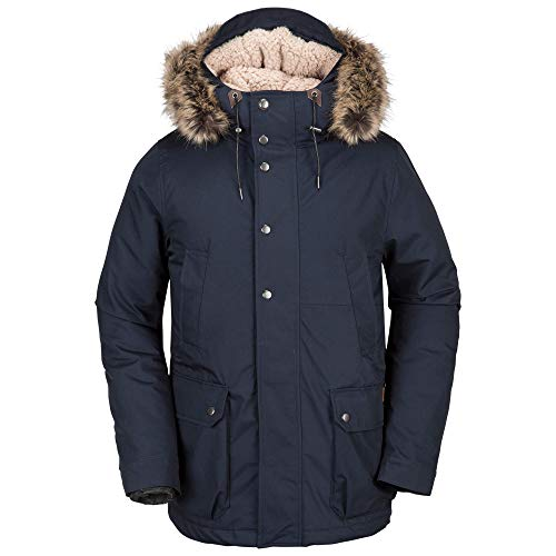 Volcom Men's Lidward Heavyweight Parka, Navy, Extra (Fur Heavyweight Parka)