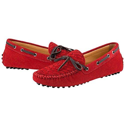 Schuhe 87058 Driving ShenDa Ballerinas 40 Casual Rot Slipper Leder ...