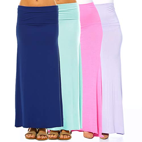 (Isaac Liev Women's 4-Pack Trendy Rayon Span Fold Over Maxi Skirt (Small, Mint, Navy, Lilac & Pink))