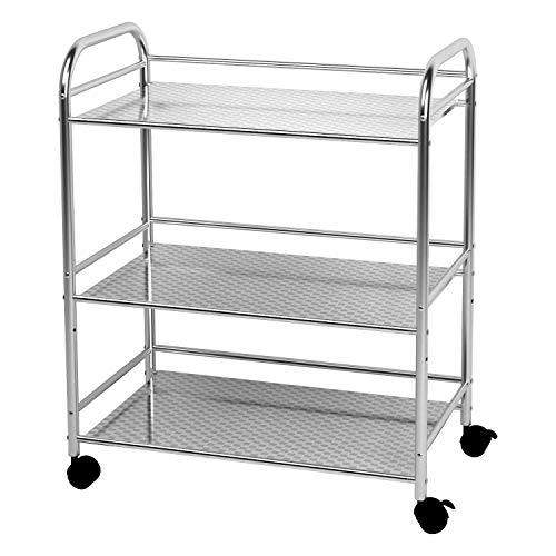 YKEASE 3-Shelf Shelving Units on Wheels Stainless Steel Kitchen Cart Microwave Stand - Bathroom Garage Storage Shelves 24 Inches Wide