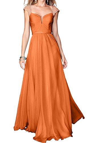 Chiffon Linie Abendkleider Festkleid A Orange Partykleider Ivydressing Promkleider Damen Trager IPRwqx5nXH