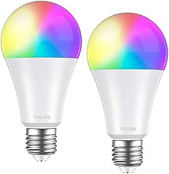 Bombilla LED Inteligente WiFi, TVLIVE 2 Pack 10W E27 Bombilla LED Luces Cálidas/Frías & RGB, Lámpara WiFi Funciona con Alexa (Echo, Echo Dot) Google Home IFTTT, 16 Millones de Colores, 800 Lúmenes