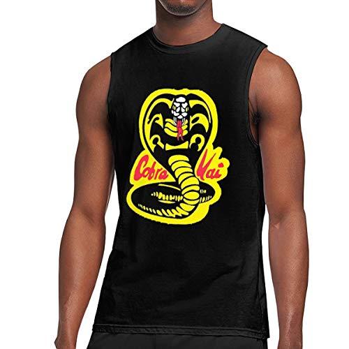 KABASHIJI Cobra-Kai-Denim-Dad Men's Tank-Top Sleeveless T Shirt 100% Cotton Bodybuilding Tshirt Black L (Cobra Sleeveless T-shirt)