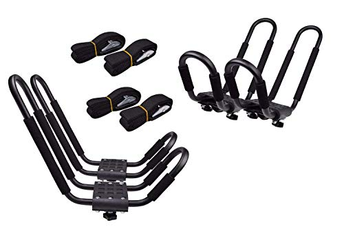 (Lifetime Warranty TMS® 2 Pairs J-Bar Rack HD Kayak Carrier Canoe Boat Surf Ski Roof Top Mount Car SUV Crossbar)