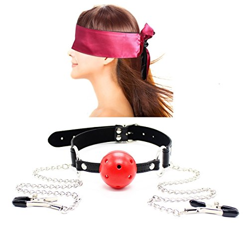 Bondage Under Bed Restraint Kit SM Sex Toy Leather Choker Collar with Nipple Clamps Chain Nipple Clips Nipple Jewelry Nipple Toys Satin Eye Mask Blindfold by feifanmall