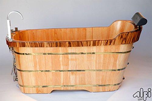 ALFI brand AB1148 59-Inch  Free Standing Oak Wood Bath Tub with Chrome Tub Filler