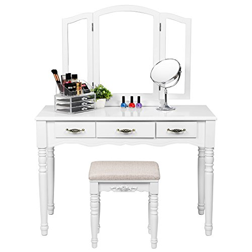 SONGMICS Vanity Table Set, 3 Large Drawers, Tri folding Mirror, Make-up Dressing Table with Cushioned Stool, Easy Assembly, Gift for Mother's Day White URDT18W