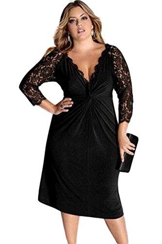 87a7a0294353 Nuovo da donna taglie forti manica pizzo nero vestito da sera ...