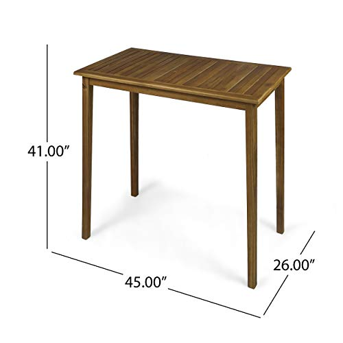 Great Deal Furniture Teresa Outdoor Minimalist Acacia Wood Rectangle Bar Table - Teak Finish by Great Deal Furniture (Image #2)