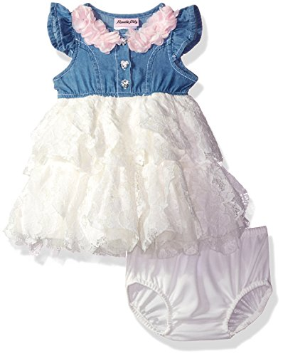 Nannette Baby Girls' Dress with 2 Tier Petal Ruffles and Panty, Off White, 6-9M