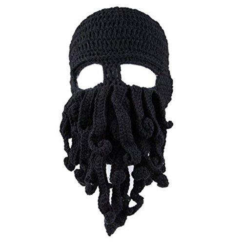 Gmasking Handmade Knitting Wool Octopus Adult Hat (Black)+Gmask Keychain