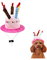 AWOCAN Pet Birthday Hat Like a Birthday Cake Adjustable Cute and Reusable Hat with Colorful Candles for Small Medium Dogs Cats Costumes Headwear