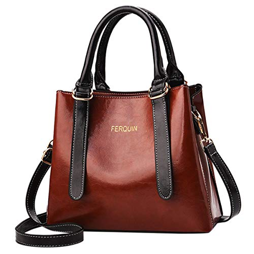 Londony Large Capacity Bags for Women, Fashion Simple Pure Color Single Shoulder Purse Bags Casual Solid Color Handbag Wine