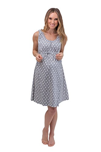 (Baby Be Mine 3 in 1 Labor/Delivery/Nursing Gown Maternity (S/M, Gray Polka)