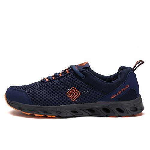 TRAUM-PAAR-Männer 160712 Sommer-Maschen-leichte flexible athletische einfache gehende Sport-Wasser-Schwimmen-Schuhe Navy-Orange