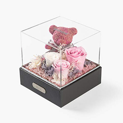 Eternal Life, Moss Rose Bear Gift Box Mother's Day 520 Valentine's Day Confession Birthday Gift,1