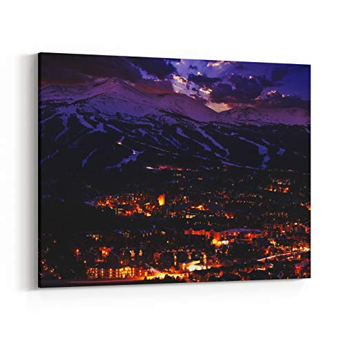Rosenberry Rooms Canvas Wall Art Prints - Breckenridge Winter Sunset The Town of Breckenridge was Formally Created in November Colorado Photo Collection (18 x 12 inches)