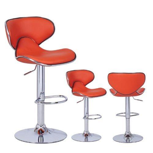 Orange Cushioned Leatherette Adjustable Barstool Chair, Curved Back, Chrome Finish Pedestal Base (Set of two) (Deco Art Stool)