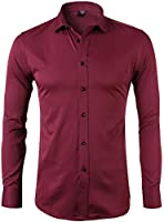 Men's Bamboo Fiber Dress Shirts Slim Fit Solid Long Sleeve Casual Button Down Shirts, Elastic Formal Shirts for Men,Red Shirts