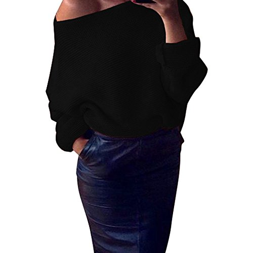 Knitted Blouses, Women Off Shoulder Chunky Knit Oversize Baggy Sweater Top ANJUNIE(Black,S) (Line Breech Cover)