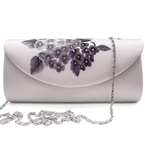 (Hand-embroidered Silk Crossbody Bag Women's Handbag Single Shoulder Bag Purse Massagers Bags (white))