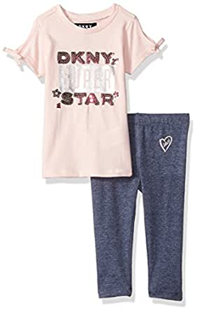 DKNY Baby Girls 2 Piece Super Star T-Shirt and Legging Set, English Rose, 18M