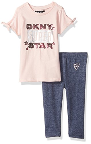 (DKNY Baby Girls 2 Piece Super Star T-Shirt and Legging Set, English Rose,)