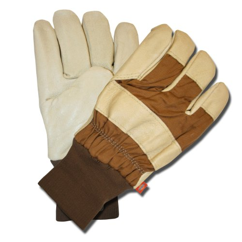 Dickies Multi-Purpose Grain Pigskin Leather Palm Work Gloves with Extended Knit Wrist - Large - Creme Colored