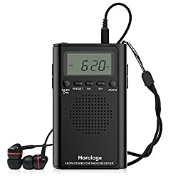 Pocket Radio, Portable Digital AM FM Alarm Clock Radio with Speaker, Sleep Timer, Preset, Alarm Clock and Earphone