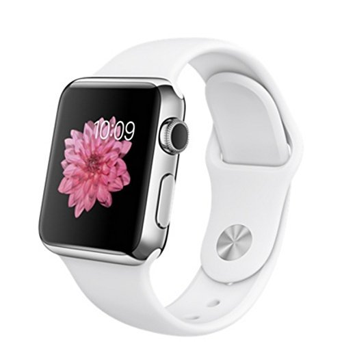 Apple Watch 38mm Stainless Steel Case w/ White Sport Band
