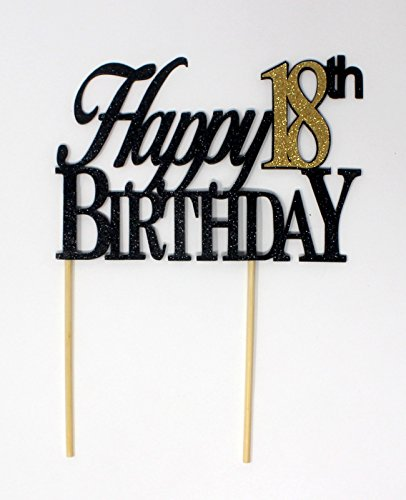 All About Details CATH18BBGO Happy, 1pc, 18th Birthday, Cake, Party Decor, Glitter Topper (Black & Gold), 4in Tall (Plus 2pcs of 4-in Wood skewers) & 6-in Wide by All About Details (Image #5)