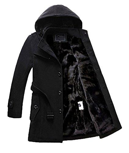 Chartou Men's Casual Detachable Hooded Single Breasted Sherpa Lined Wool Blend Midi Coats (Black, Medium) (Coat Midi)