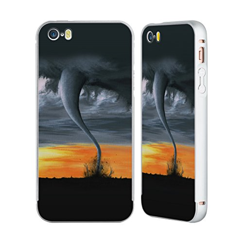 Officiel Graham Bradshaw Tornade Illustrations Argent Étui Coque Aluminium Bumper Slider pour Apple iPhone 5 / 5s / SE